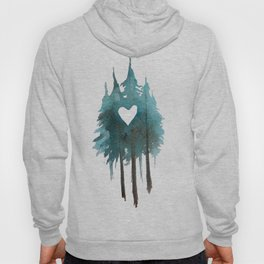 Forest Love - heart cutout watercolor artwork Hoody