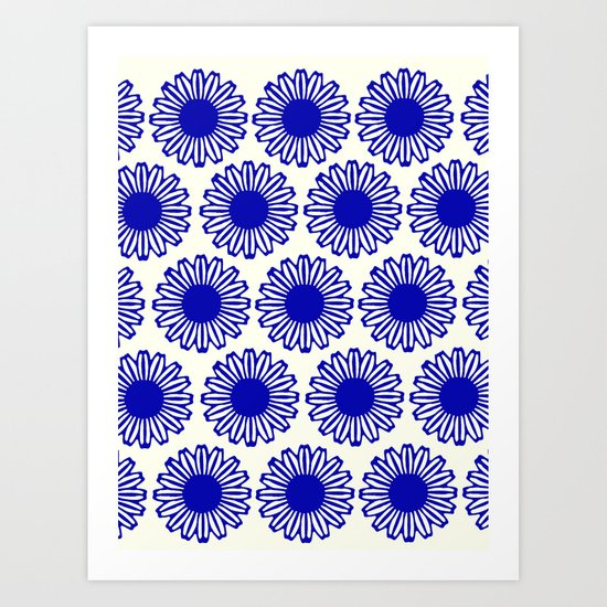 vintage flowers blue  Art Print
