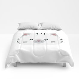 Black and White tiger cat Comforters