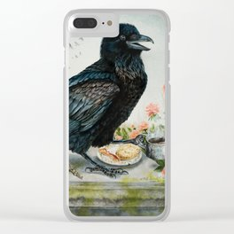 Breakfast With the Raven Clear iPhone Case