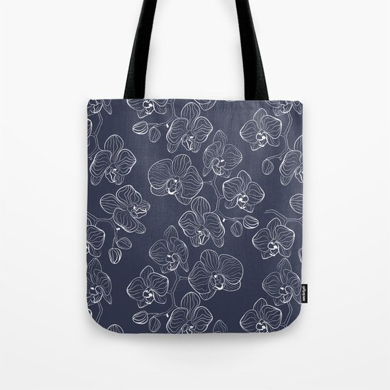 Retro . Orchid flowers on a blue background . Tote Bag