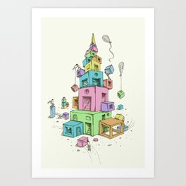 Colourful Blocks Art Print