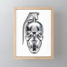 Skull grenade silver Framed Mini Art Print
