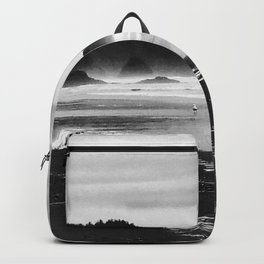 Black and White Seascape At Hug Point Backpack