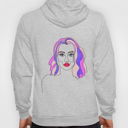 Pink is my favourite colour - single line drawn portrait with coloured pencils Hoody