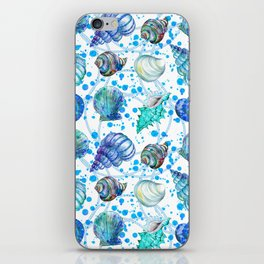 Seamless watercolor marine pattern. Endless texture. Hand draw. Collection of shells on white backgr iPhone Skin