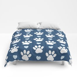 Dog Paws, Traces, Animal Paws, Hearts - Blue White Comforters