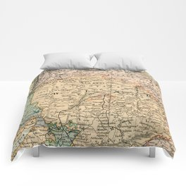 Vintage and Retro Map of India Comforters