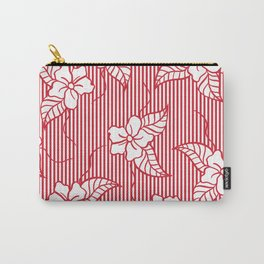 Fashion red flame scarlet white floral hand drawn geometric stripes pattern Carry-All Pouch