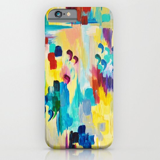 DONT QUOTE ME Whimsical Rainbow Ikat Chevron Abstract Acrylic Painting Magenta Plum Turquoise Gift iPhone & iPod Case