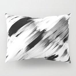 Modern Abstract Black White Brushstroke Art Pillow Sham
