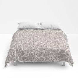 Delicate Lace Mandala Pattern (Grey/Cream) Comforters
