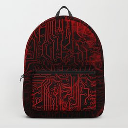 Red Cybernetic Circuit Board Crackle Grunge Texture Backpack