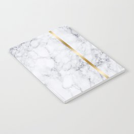 White Marble Gold Frame Notebook