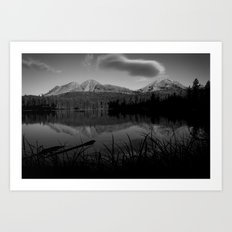 Lassen Volcanic National Park - Mt. Lassen Reflection in Black and White Art Print