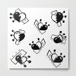 Hearts with Stitches - Black Metal Print