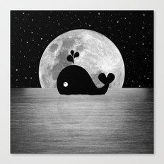 Whale Night Swim - Black and White Canvas Print
