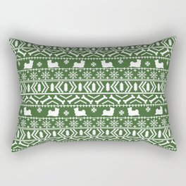 Biewer Terrier fair isle christmas green and white pattern minimal dog breed pet designs Rectangular Pillow