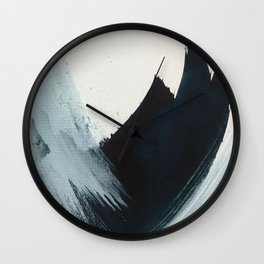Like A Gentle Hurricane: a minimal, abstract piece in blues and white by Alyssa Hamilton Art Wall Clock