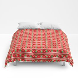 Pixeled Christmas Tree On Red Christmas Pattern Comforters