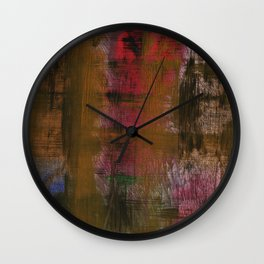 Olive Red Abstraction Wall Clock