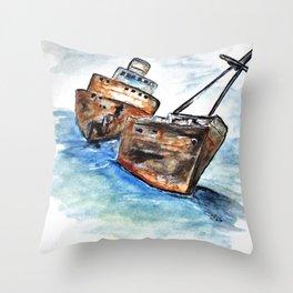 Wrecked Shipper Throw Pillow