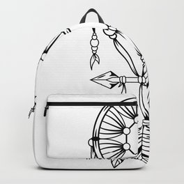 Dream Catcher with black and white feathers Backpack