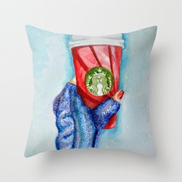 Holiday Cup Throw Pillow