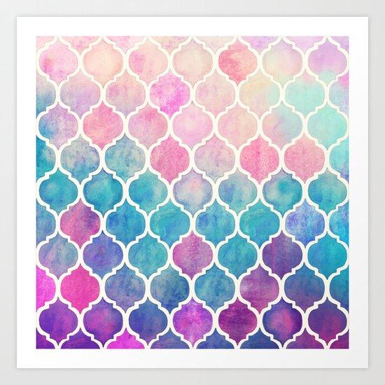 Rainbow Pastel Watercolor Moroccan Pattern Art Print