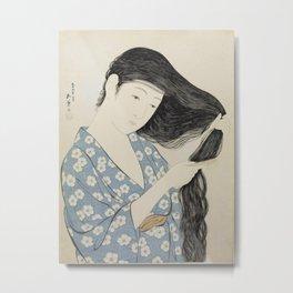 Woman in Blue Combing Her Hair - Hashiguchi Goyo Metal Print