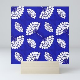 African Floral Motif on Royal Blue Mini Art Print