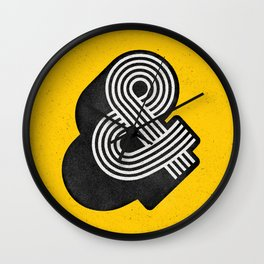 Ampersand black and white and yellow 3D typography design minimalist home decor wall decor Wall Clock