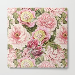 Vintage & Shabby Chic Floral Peony & Lily Flowers Watercolor Pattern Metal Print