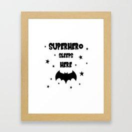 Superhero Sleeps Here Framed Art Print
