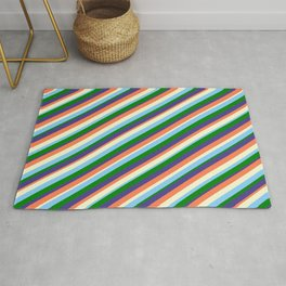 Coral, Light Yellow, Light Sky Blue, Green & Dark Slate Blue Colored Lined/Striped Pattern Rug