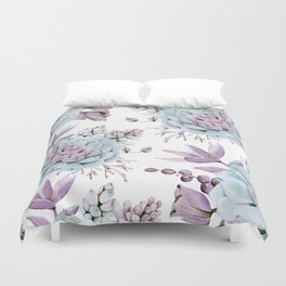 Turquoise and Violet Succulents Duvet Cover
