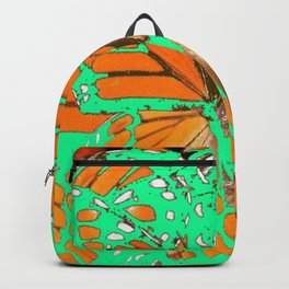 GREEN-ORANGE MONARCH BITS, PIECES PATTERNS ABSTRACT Backpack