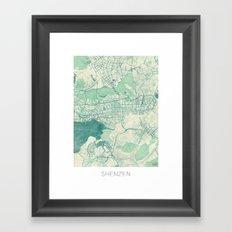 Shenzen Map Blue Vintage Framed Art Print