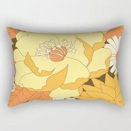 Yellow, Orange and Brown Vintage Floral Pattern Rectangular Pillow