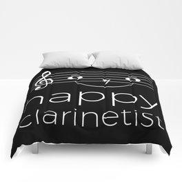 Happy clarinetist (dark colors) Comforters