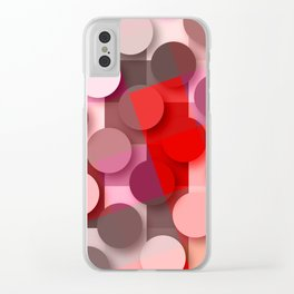 dots & squares red Clear iPhone Case