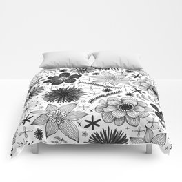 black and white floral print Comforters