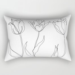 Botanical illustration line drawing - Three Tulips Rectangular Pillow