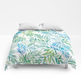 Watercolour Ferns | Blue Green Comforters