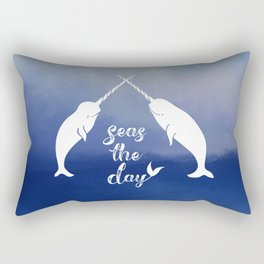 Narwhal Seas the Day Rectangular Pillow