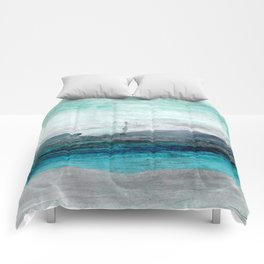 Turquoise Blue Green Abstract Coastal Landscape Comforters