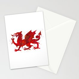 Welsh Dragon Art Colorful Red Watercolor Art Gift Fantasy Art Stationery Cards