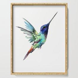 Flying Hummingbird flying bird, turquoise blue elegant bird minimalist design Serving Tray