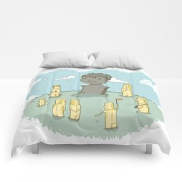 Easter island in a parallel universe Comforters