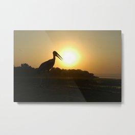 Marabou Stork Bird Silhouette Sunrise Africa Metal Print